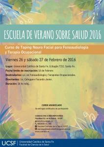 AFICHE Y MAILINGS - ESCUELA DE VERANO-taping neurofacial-fonoaudiologia. terapia ocupacional-ucsf