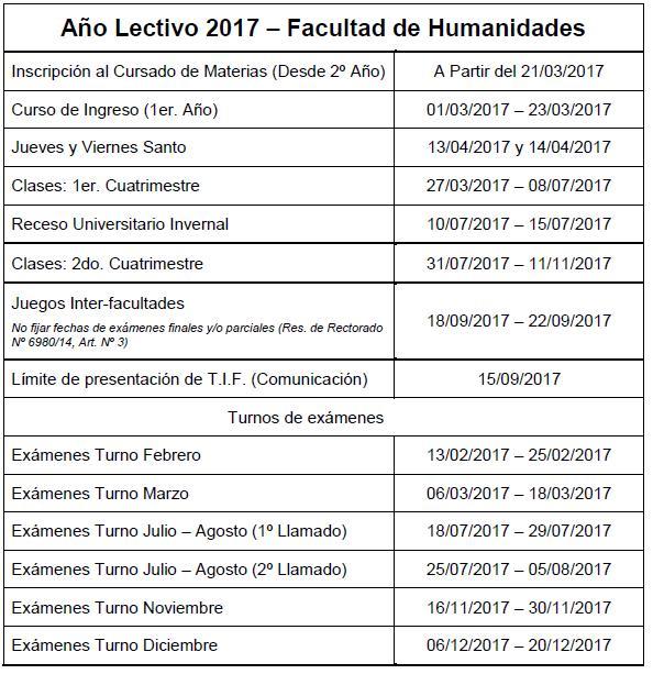 Calendario Académico 2017 imagen web