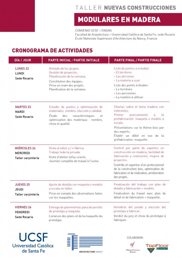 CRONOGRAMA - Nuevas construcciones modulares en Madera